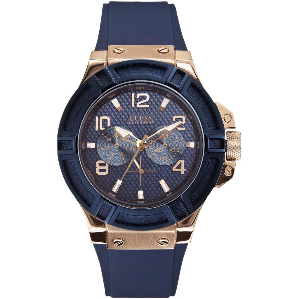 Thiết kế nổi trội của đồng hồ Guess tông xanh dương